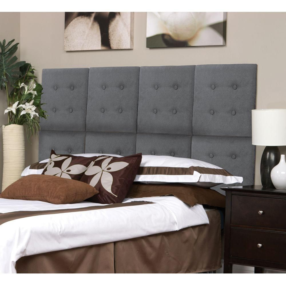 Az Home And Gifts Next Luxe Grey Faux Suede Queen Headboard