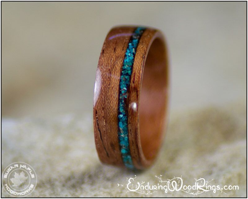 Bubinga Wood Ring With Chrysocolla Stone Inlay Wood Wedding Ring
