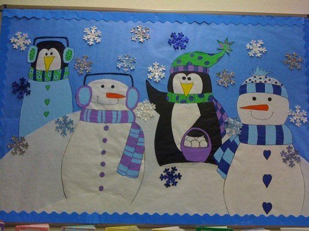 Fresque hiver fresques pinterest fresque hiver et for Decoration porte classe hiver