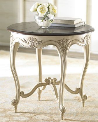 """""""Marie"""" Side Table at Horchow birch and resin antique white base with tobacco hued finish top 25""""D x 24 5""""T """""""