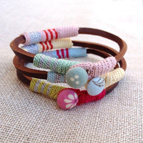 leather and crochet bracelet by kjoo on Etsy