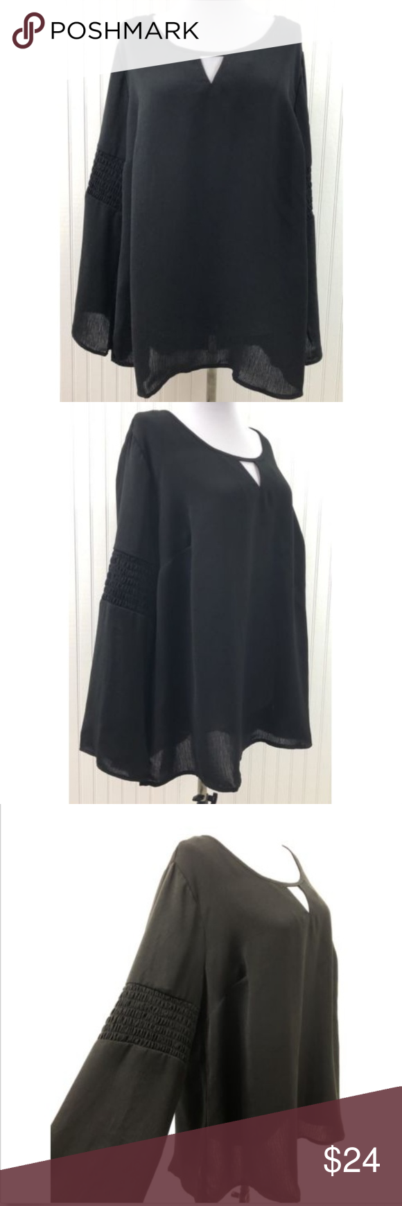 c983c053a2ddcf NY Collection NWT 1X Blouse Black Keyhole Neckline Beautiful, Brand New  with Tags Women's Plus