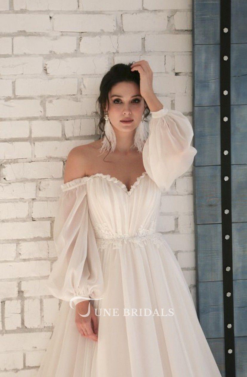 10/10 off-shoulder mouwen lieverd elegante chiffon trouwjurk met