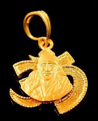 22k 22ct Solid Gold 3D OM OHM SHRI SHIRDI SAI BABA Hindu Religious