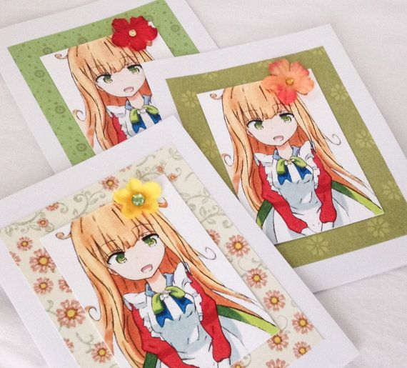 Anime Style Teen Birthday Card Anime Maid Anime Aceo Hand