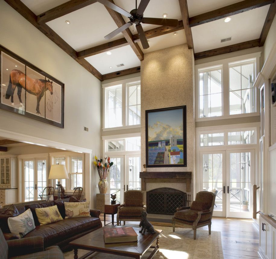 Impressive Living Room High Ceiling With Fancy Wood Hanging