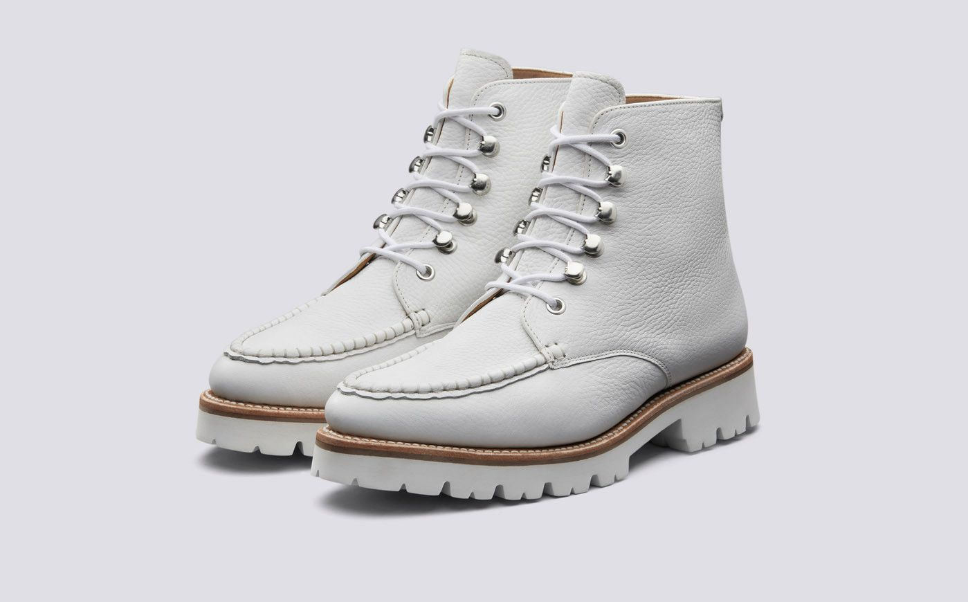 Geraldine | White Boots for Women on Commando Sole | Grenson