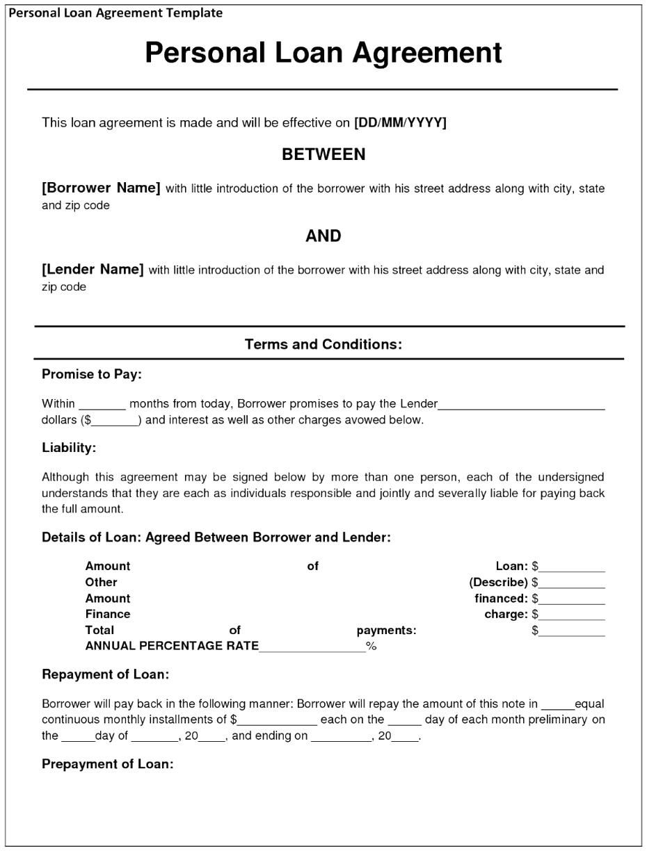 Private Loan Agreement Template Free Free Printable Documents Personal Loans Contract Template Loan