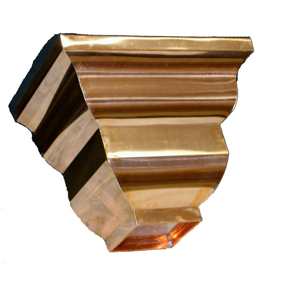 Coppercraft Essex Copper Conductor Head With 4 In Round Outlet Brown Copper Conductors Copper Gutters