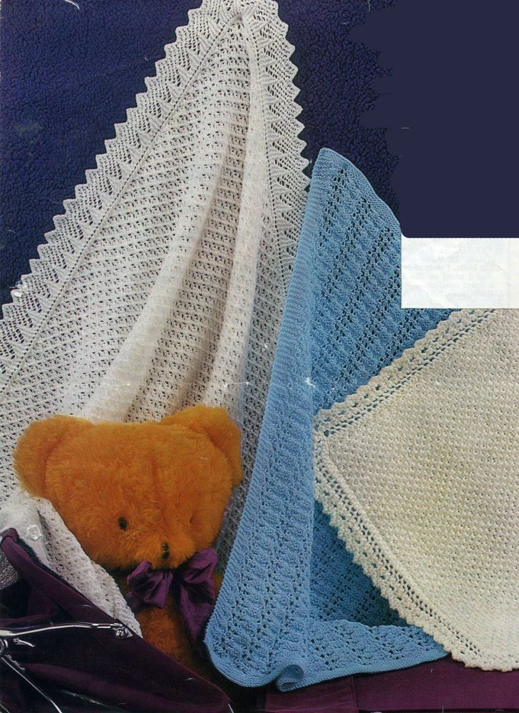KNITTING Pattern-Baby shawl & 2 pram covers in 4ply-DK-or ...