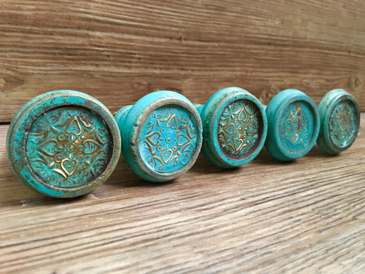 set of 2 large distressed turquoise and gold foil painted wooden