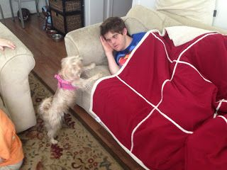 Thomas get's a dog :) Check it out on the blog! #Downsyndromeblog #downsyndrome