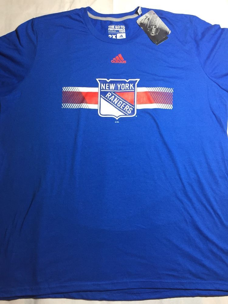 Men s Adidas Climalite NHL NY New York Rangers Ultimate SS T Shirt Blue  Size XXL   4b9d494df