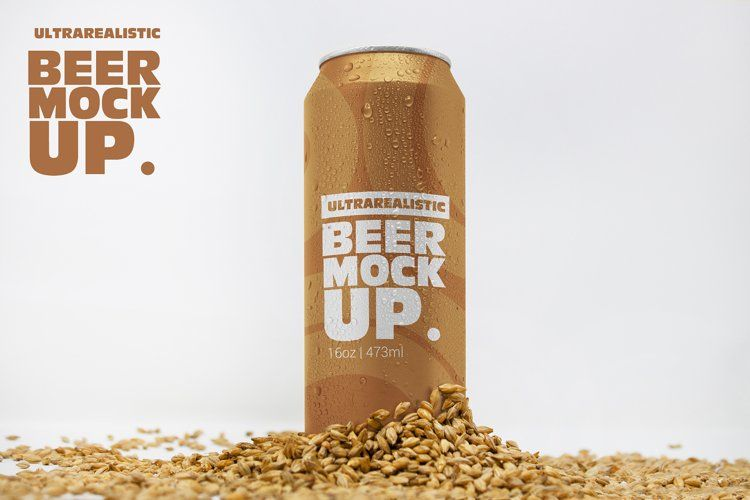 Front 16oz Malt Can Mockup 521195 Mockups Design Bundles In 2021 Malt Beer Logo Mockup