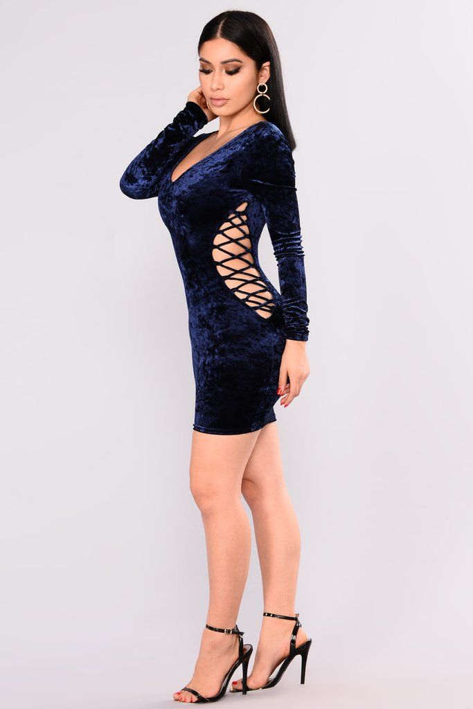 Love Lasts Forever Lace Up Dress – Navy