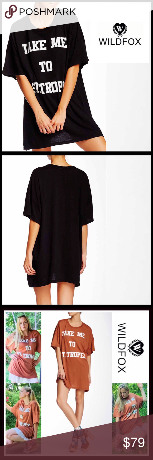 """WILDFOX Tunic TEE COVERUP Barefoot Tee Dress 💟 NEW WITH TAGS 💟 SIZING- S = Sizes 4-6 WILDFOX Tunic COVERUP Barefoot Tee Dress Retail Price: $98   * Super soft & comfy  * A tunic - Mini length; Approx 32""""L  * Scoop neck & elbow length sleeves  * Graphic print on front,,'Take Me To St. Tropez';A purposely subtly distressed/'washed' fabric  * A relaxed & oversized silhouette   Fabric: 100% Cotton, Made in USA  Color: Black   Item# Shirt dress 🚫No Trades🚫 ✅ Offers Considered*✅  *Please use…"""