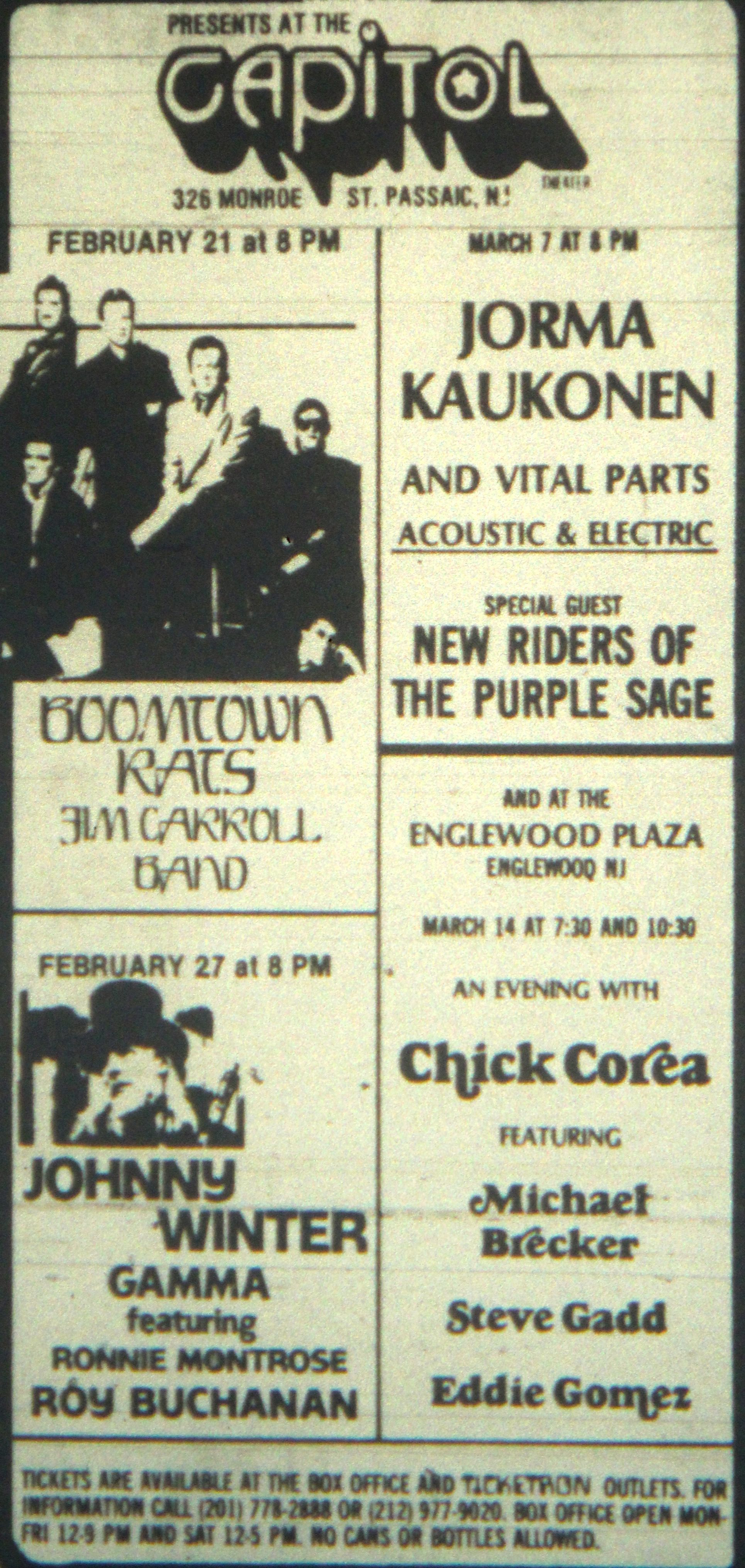 Capitol Theater ad in Passaic NJ 1981 Jersey girl, New