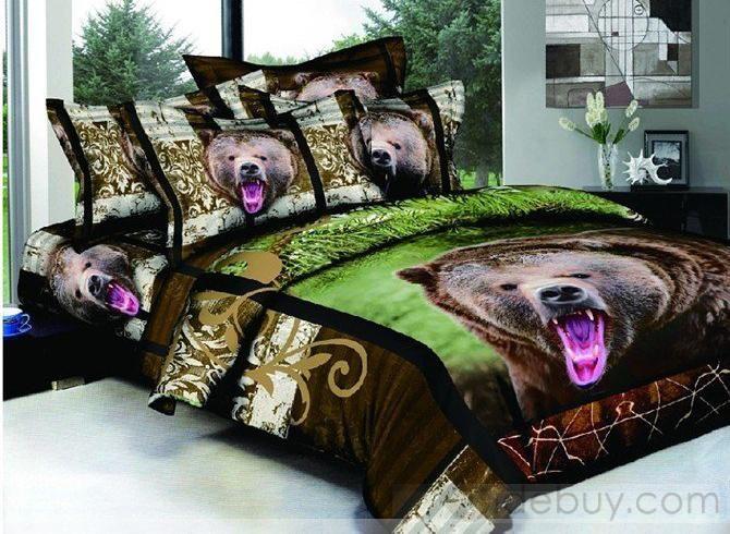 Extraordinary 4 Pieces Black Bear Print Comforter Sets Of 100 Cotton In 2020 Print Comforter Duvet Cover Sets Comforter Sets