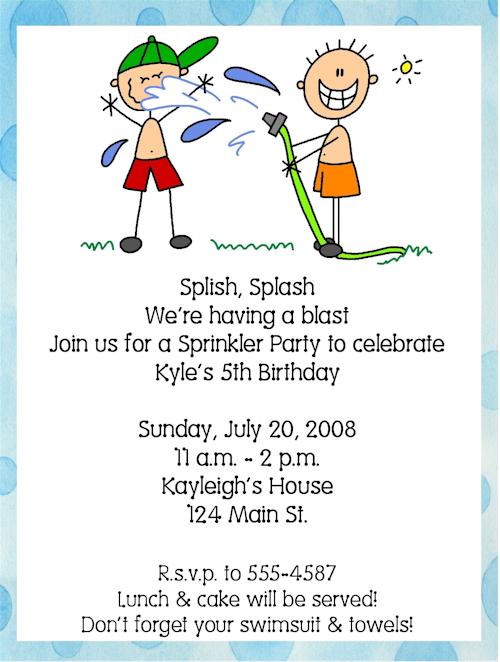 Pool Summer Swim Sprinkler Birthday Party Invitations