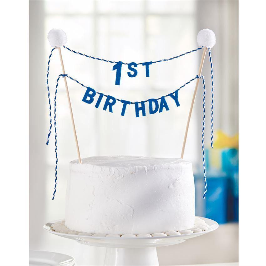 Birthday Cake Topper Blue 1st Birthday Pom Pom Tops Felt