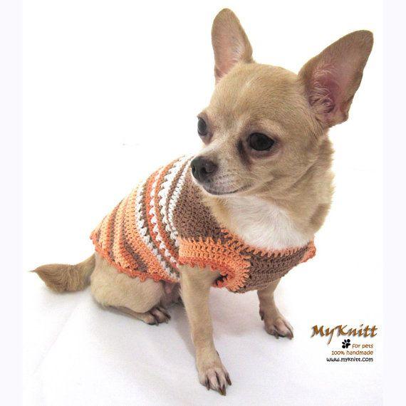 Rustic Dog Clothes Crochet Knit Beige Brown Dogs Dress By Myknitt