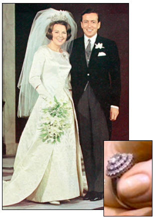 QUEEN BEATRIX of the Netherlands married German aristocrat Claus Von Amsberg in 1966, wearing this gorgeous solitaire engagement ring in a double halo setting.