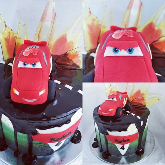 Lightning Mcqueen Cars Edible Fondant Cake Topper Cars3 Kids
