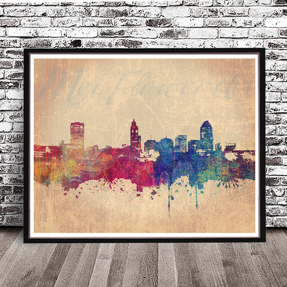Vintage Raleigh NC City Skyline watercolor style print Cities in