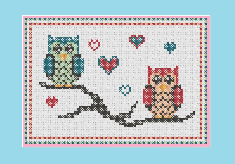 Owl cross stitch pattern: lovebird owls | Diseños bebe | Pinterest ...