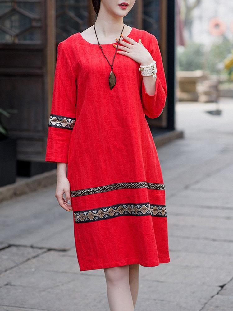 9bf1120fc7e3 Embroidery Long Sleeve O-neck Vintge Cotton Dress  Dresses  PlusSize