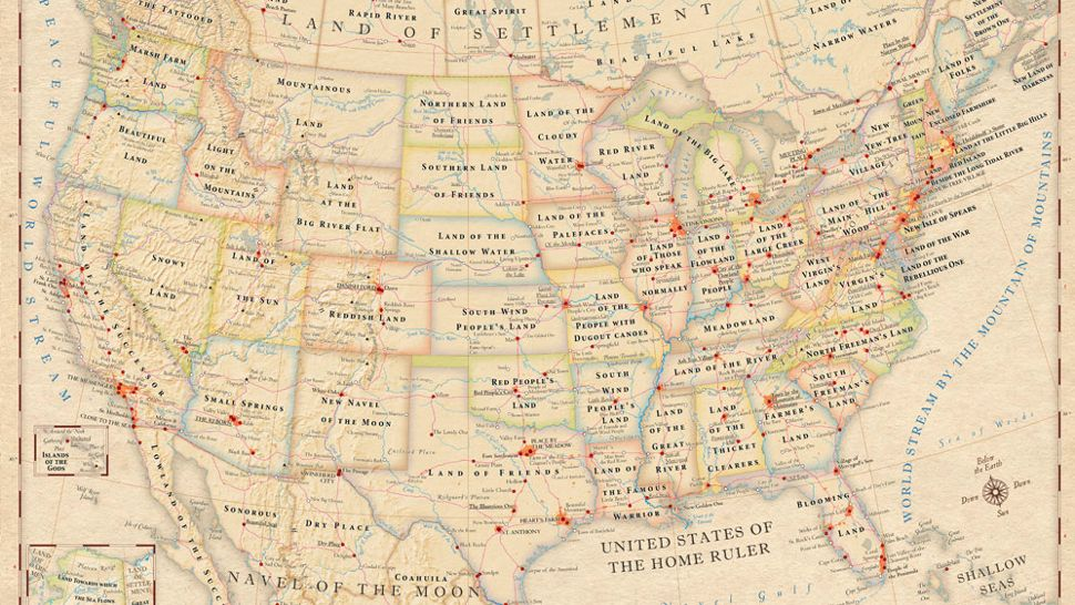 A map showing the original meanings of place names in North America