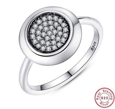 Original Real 925 Sterling Silver Signature Pave Round Ring with Clear Cubic Zirconia Compatible with Pandora Jewelry