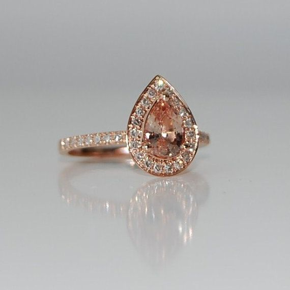 1 Carat Peach Champagne Sapphire Teardrop And Diamond Ring Vintage Wedding Rings Rose Gold Wedding Rings Teardrop Wedding Rings Rose Gold