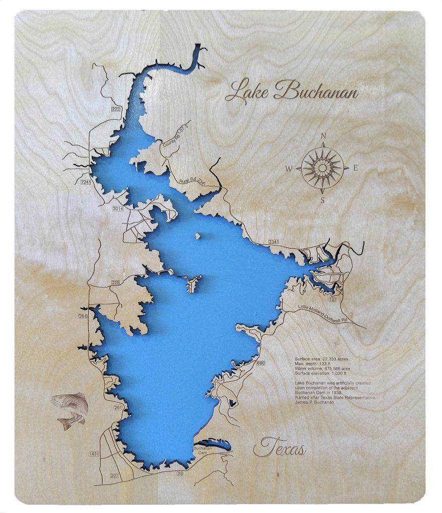 Lake Buchanan Texas Wood Laser Cut Map
