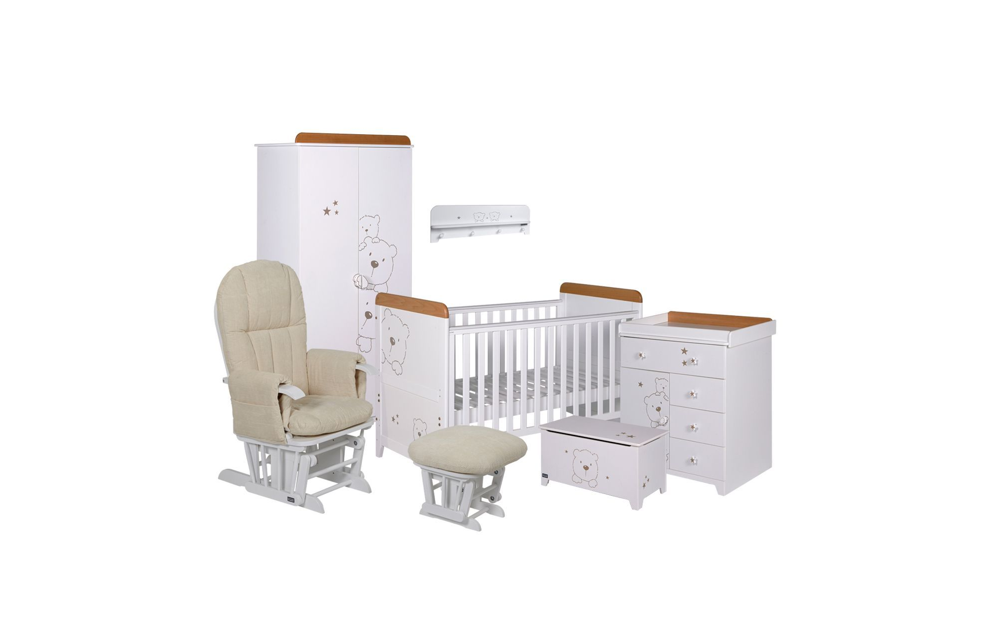Tutti Bambini Three Bears 7 Piece Roomset White Baby