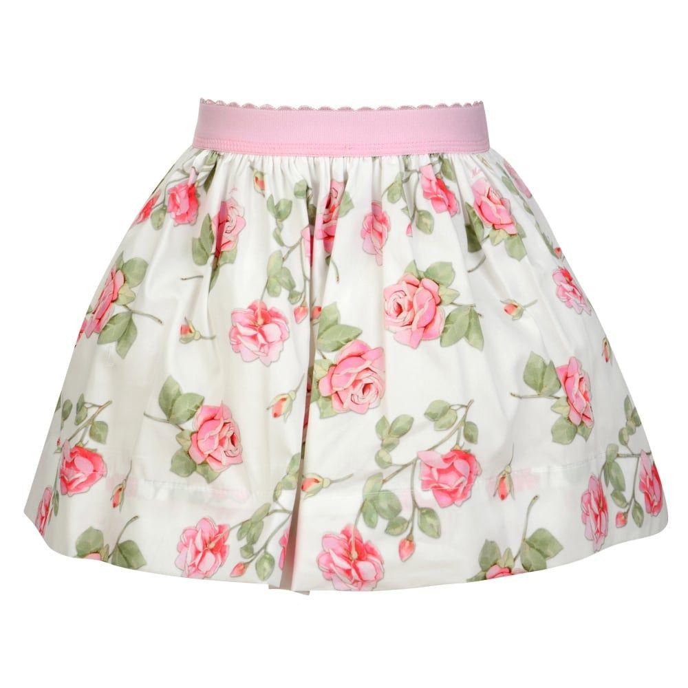 7dec959c97bc Monnalisa Baby Girls White   Pink Rose Print Skirt with Pink Bow ...