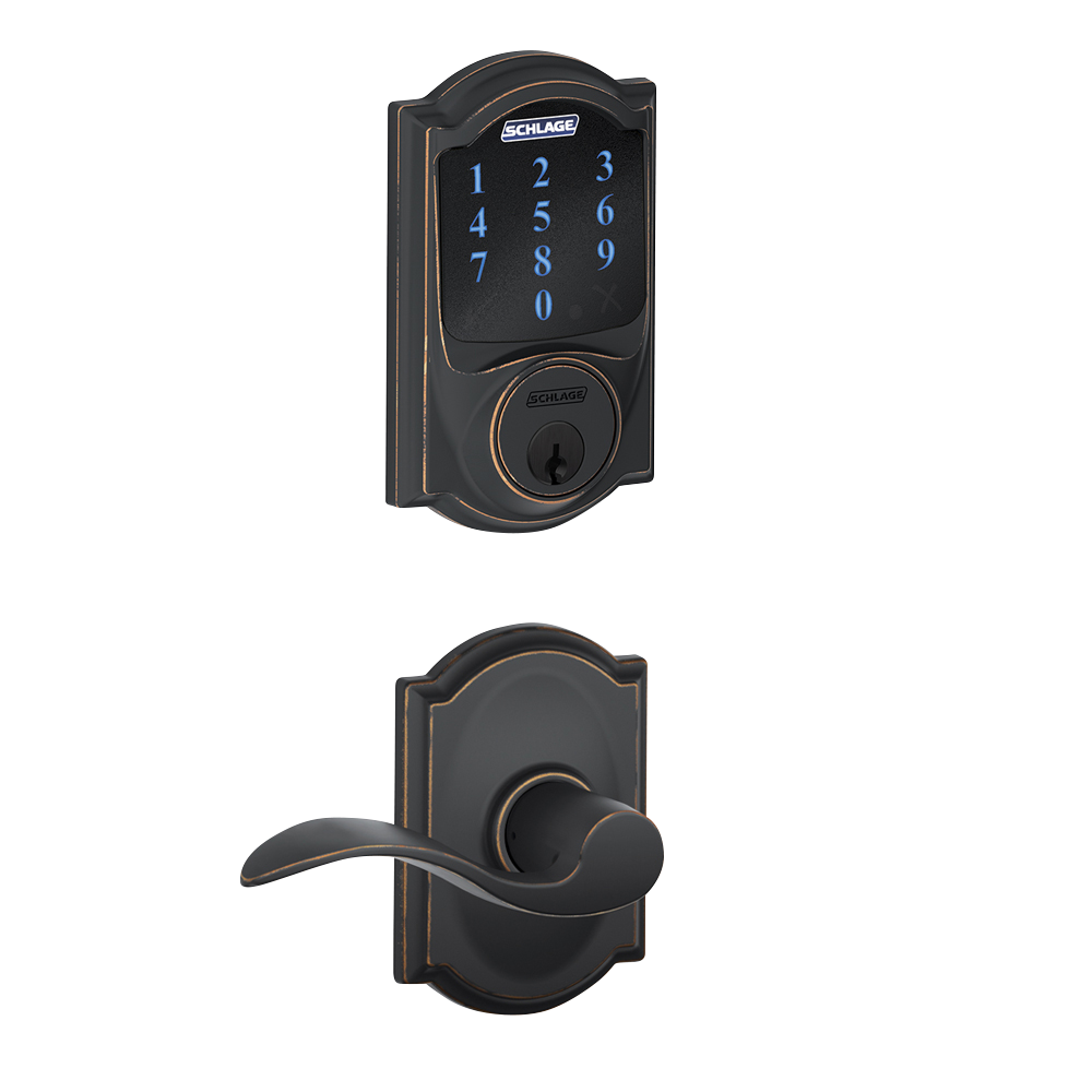 Schlage Connect Touchscreen Deadbolt With Alarm With Camelot Trim