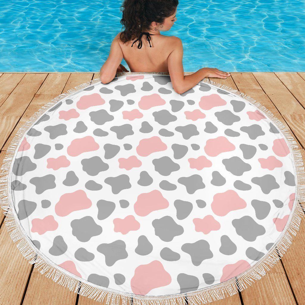 Pink Grey And White Cow Print Round Beach Blanket