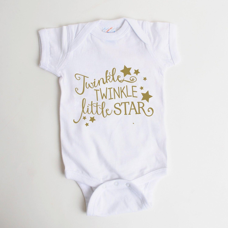 656645399 Gold Baby Shirt - Newborn Baby Gift - Twinkle Twinkle Little Star ...