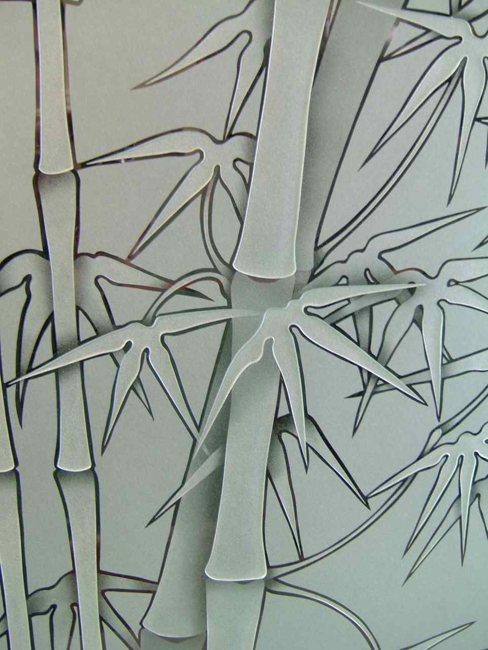 Etched glass doors privacy glass door inserts bamboo pictures to pin - Bamboo Sandblast Glass