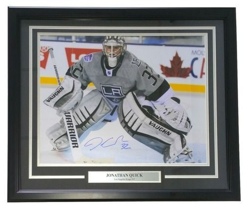 Jonathan Quick Signed Framed LA Kings 16x20 Grey Jersey Photo Steiner