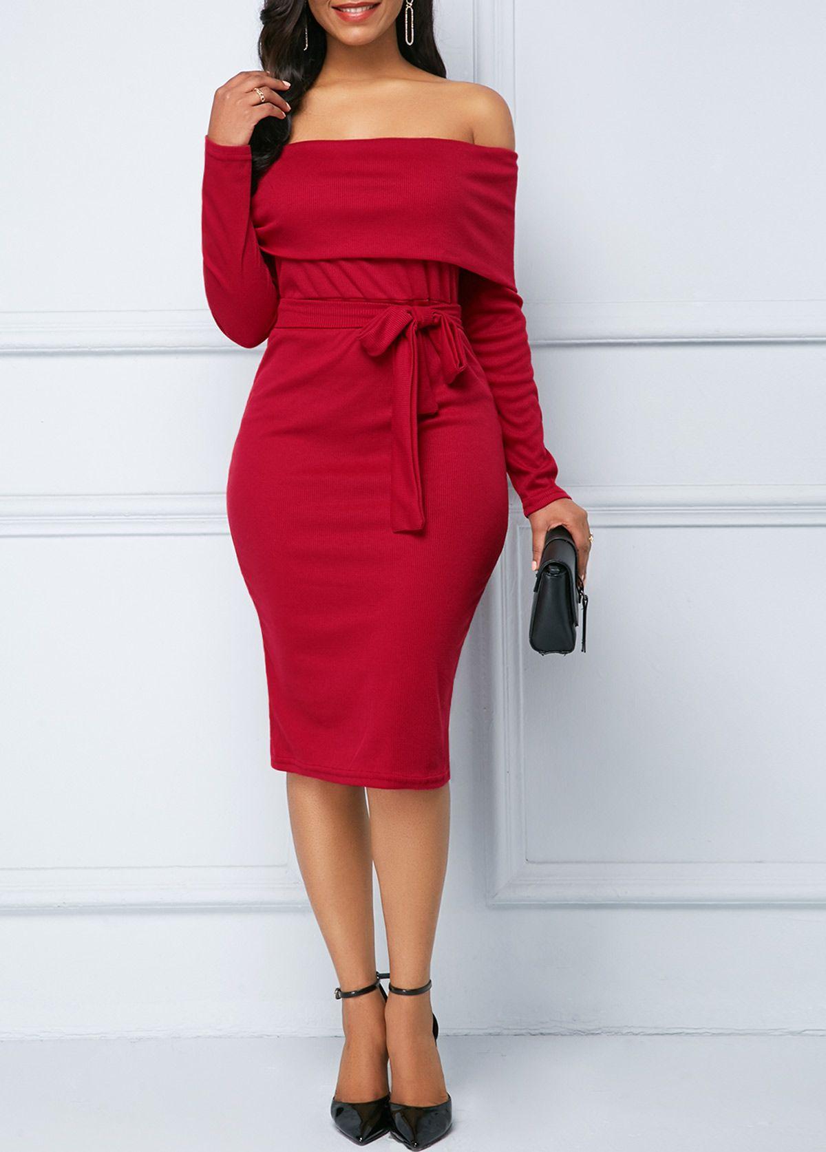 Off the Shoulder Belted Wine Red Sheath Dress  Rotita.com - USD