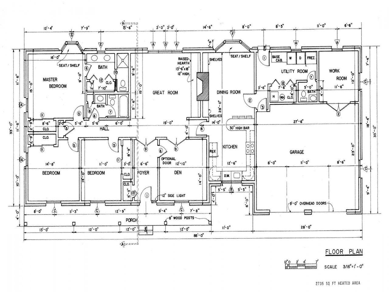 Ranch House Floor Plans With Basement Small California Open Plan House Blueprints Denah Rumah Denah Lantai Rumah