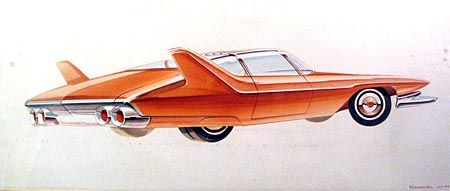 "Ref# 304 Date: 1957 Artist: Allan E. Kornmiller, signed ""Kornmiller, 9/11/57"" Make: Chrysler Model: Coupe Type: Conceptual rendering Medium: Watercolor on illustration board Size: 13 x 28.5"