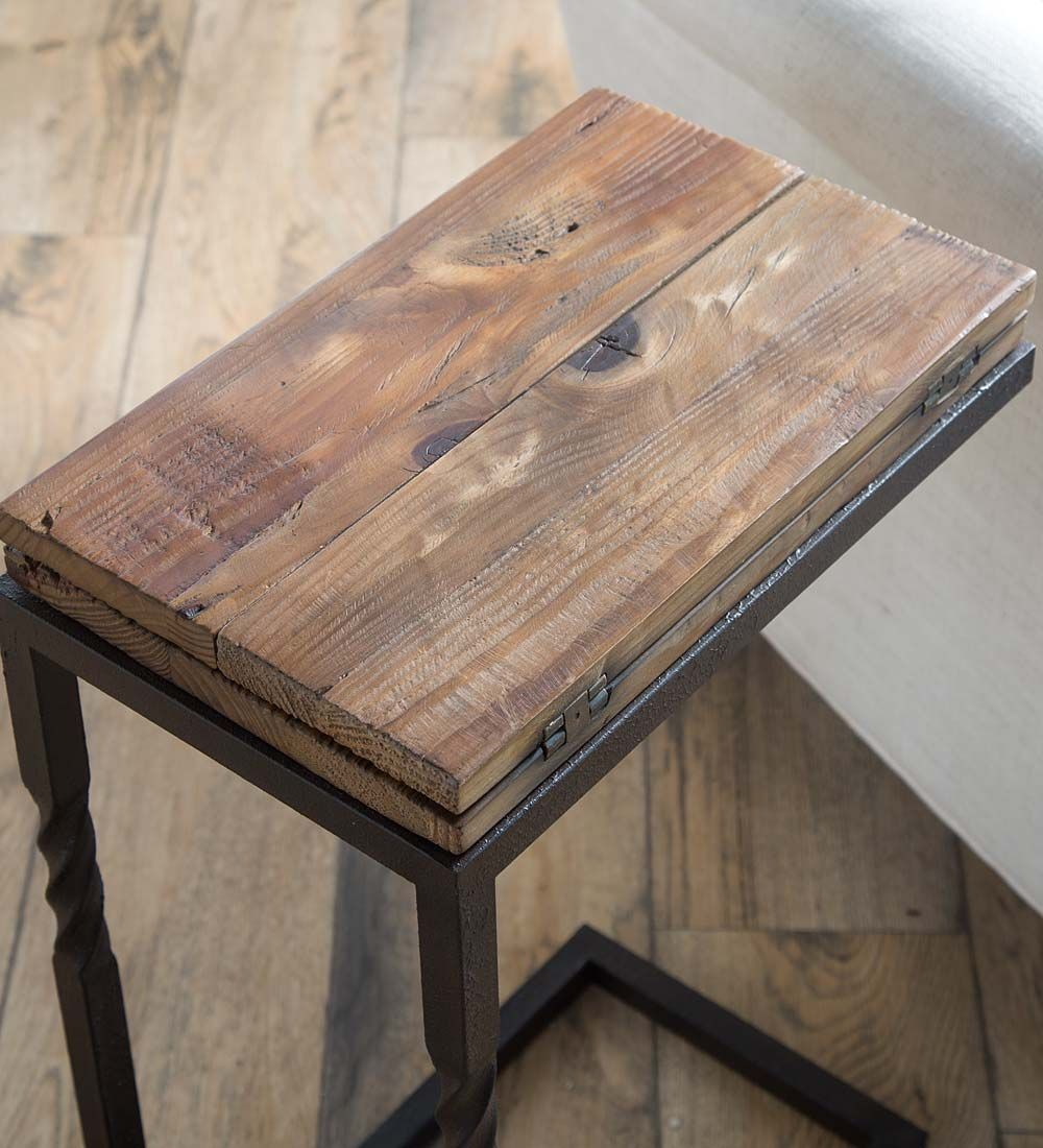 Deep Creek Pull Up Table in Rustic Wood and Metal