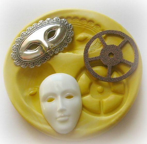 Silicone Mask Mold Mardi Gra Mold Gear Steam Punk Mold Deco
