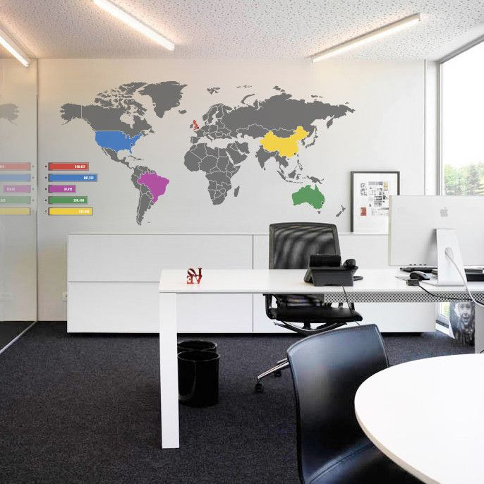 World Map Infographic Wall Sticker