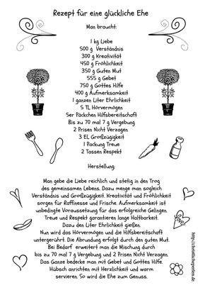 Rezept für eine glückliche Ehe papier Pinterest
