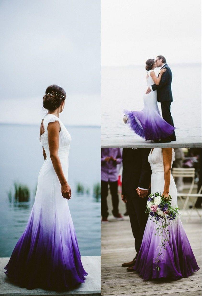 Mermaid V Neck Open Back Purple Dip Dye Chiffon Wedding Dress Ombre Wedding Dress Purple Wedding Dress Colored Wedding Dresses [ 1233 x 843 Pixel ]