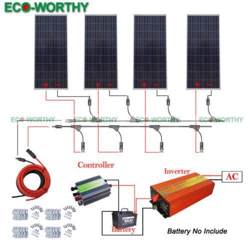 4x160w 600w 12v Off Grid Solar System W 110v Inverter For Household Boat Rv Solar System Kit Off Grid Solar Off Grid System